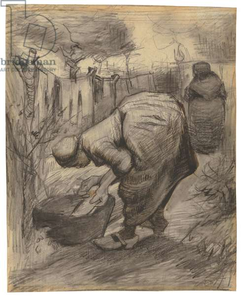 Peasant with Wash Basin in a Garden; Paysanne au bassin dans un jardin, 1885 (black crayon, pen, brush and black and sepia ink and pencil on paper)