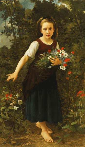 Little Girl by the Brook holding a Sheaf of Flowers, 1886 (oil on canvas)