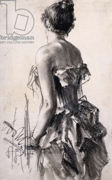Rear view of a Woman; Ruckenansicht einer Dame, 1888 (charcoal and grey wash on paper laid down on card)