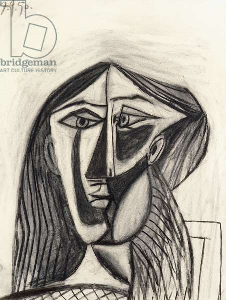 Head of a Woman in a Striped Blouse (Portrait of Francoise), 1950 (charcoal on paper)