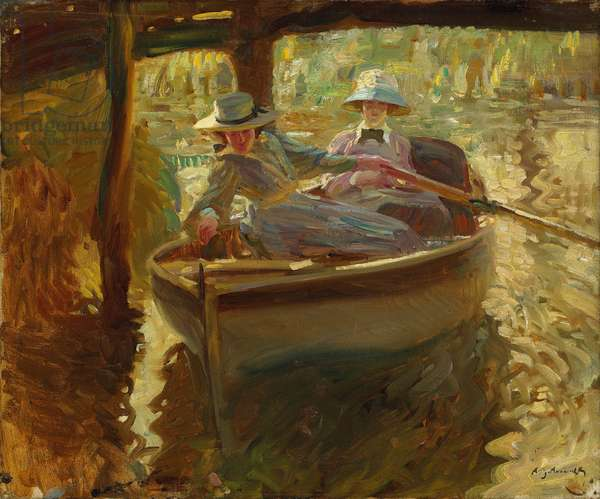 Idle Moments or The Boathouse, 1906 (oil on canvas)