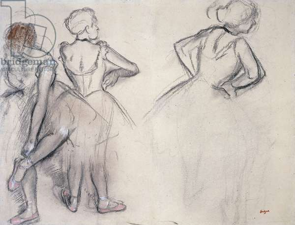 Study of Dancers; Etude de Danseuses, (charcoal and pastel on paper)