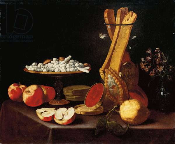 Sweets on a tazza, narcissi in a glass vase, breadsticks in a jar, and apples, jelly and a lemon on a draped table (oil on canvas)