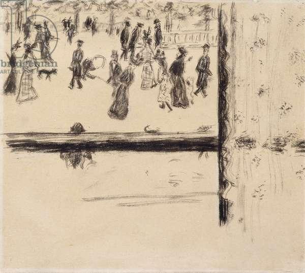 Boulevard des Batignolles, c.1896-8 (brush and black ink on paper)