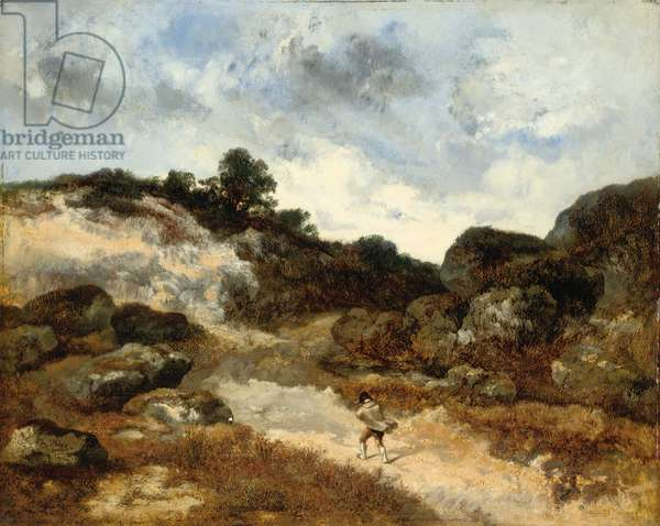 Before the storm, a character on the rocky road to Jean-de-Paris (oil on panel)