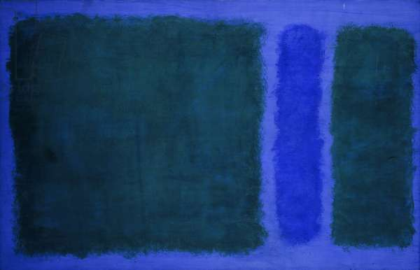Green, Blue, Green on Blue, 1968 (acrylic on paper mounted on canvas)