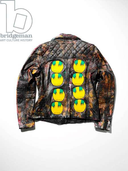 SR Leather Quilted-Yoke Moto Jacket, back view, 2016 (paint & patches on leather jacket)