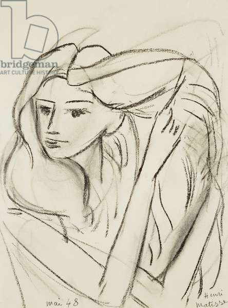 Hair; La Chevleure, 1948 (charcoal on paper)