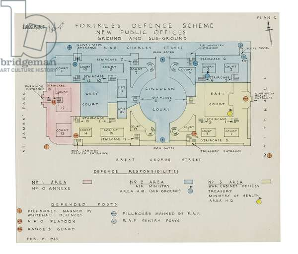 Fortress Defence Scheme, Cabinet War Rooms, 1 February 1943 (hand-coloured print on linen)