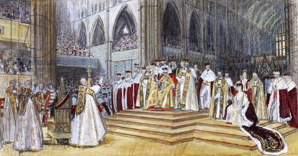 The Benediction at the Coronation of H, 1937 (charcoal, coloured chalk and watercolour on beige paper)