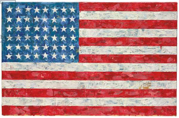Flag, 1960-66 (encaustic and collage over lithograph mounted on canvas)