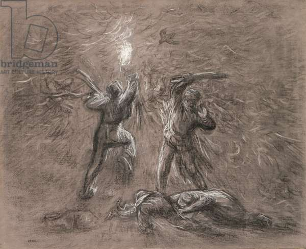 Hunting Birds by Torchlight (charcoal & chalk on paper)
