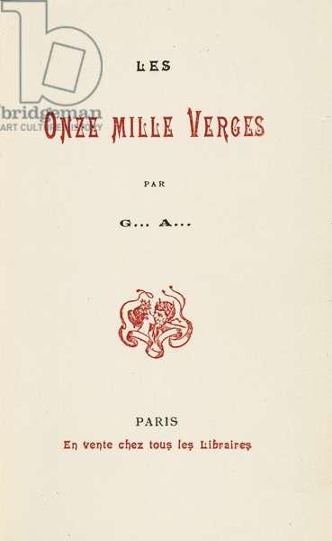 Cover of 'Les Onze mille verges ou les amours d'un Hospodar' by Guillaume Apollinaire, 1907 (colour litho)