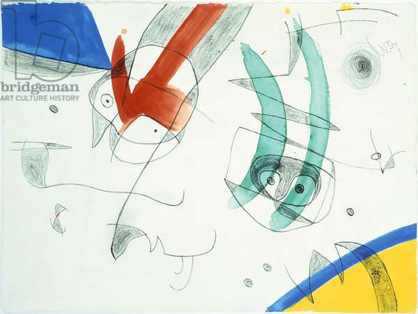 People, Birds, 1976 (pencil & gouache on paper)
