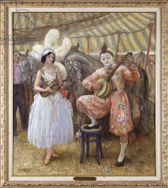 Tuning up in the Tent (oil on canvas)