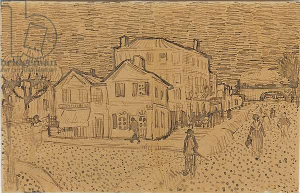 Vincent's house at Arles, from a letter to his brother Theo, executed in Arles, 1888 (pen & ink on paper) (recto of 957115)