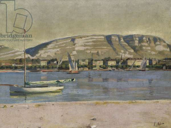 Geneva Harbour and the Saleve, 1878 (oil on canvas)