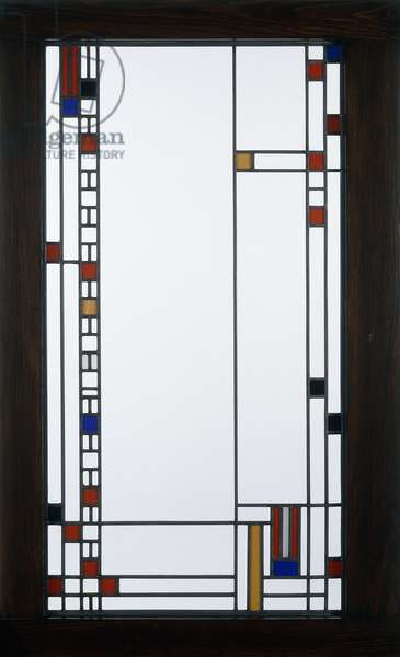 A leaded glass window designed by Frank Lloyd Wright, for the Avery Coonley Playhouse, Riverside, Illinois, 1912 (leaded glass)