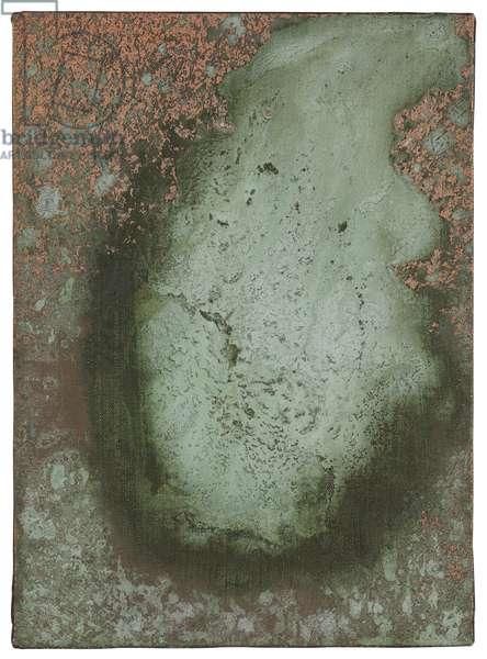 Oxidation Painting, 1978 (copper metallic pigment & urine on canvas)