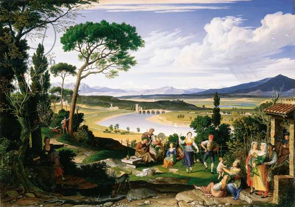 Tiber landscape with cheerful country folk, 1817 (oil on canvas)