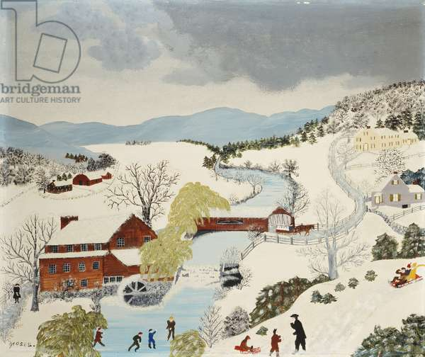 The Old Red Mill in Winter, 1944 (tempera and glitter on masonite)