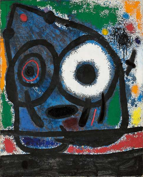 Blue Head and Bird-Arrow; Tete bleue et oiseau fleche, 1965 (oil on canvas)
