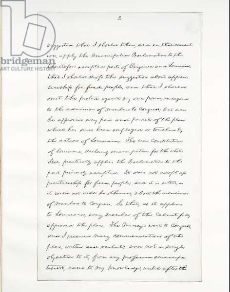 Autograph manuscript of Lincoln's last address as President, delivered in Washinton, D. C., from the window of the White House on the evening of 11th April, 1865 (pen & ink on paper) (see also 490415)