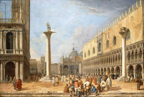 The Piazzetta, Venice, looking towards the Piazza San Marco,  (oil on canvas)