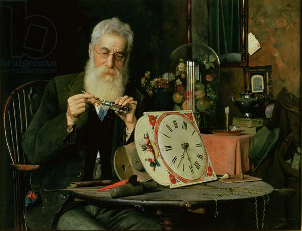 The Doctor Oiling Clock (oil on canvas)