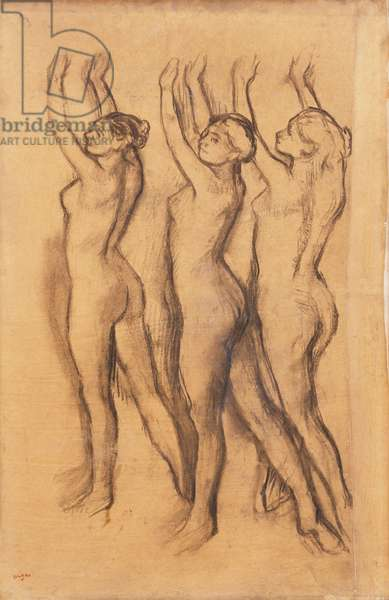 Three Dancers in Bodysuits, with Raised Arms,  (charcoal on joined tracing paper laid down by the artist on boar)
