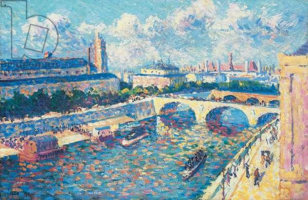 Paris, the Seine and the quai de la Mégisserie seen from the quai de l'Horloge, 1892 (oil on cardboard)