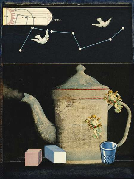 The Puzzle of the Reward #1, c.1965 (paper collage on masonite)