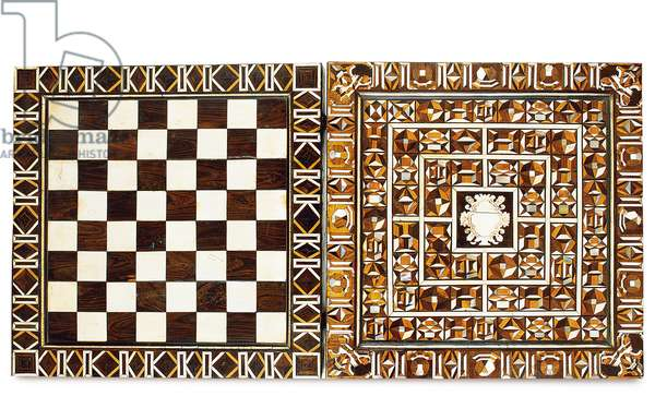 South German marquetry games box, from Augsburg or Nuremberg, late 16th-early 17th century (ebony, ivory, mother-of-pearl, walnut & fruitwood)