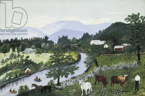 At the Bend of the River, 5th October 1948 (oil & tempera on board)