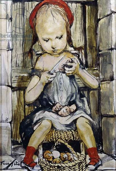 Young Girl Peeling Potatoes,  (oil on masonite)