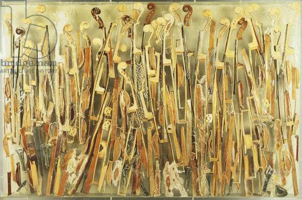 Accumulation,  (broken violins in plexiglas)