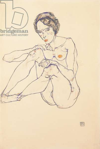 Seated female nude, 1914 (gouache, w/c & pencil on paper) (recto of 993715)