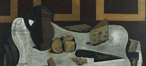 Pitcher, Fruit, Cheese, Knife; Pichet, Fruit, Fromage, Couteau, 1940 (oil and sand on canvas)