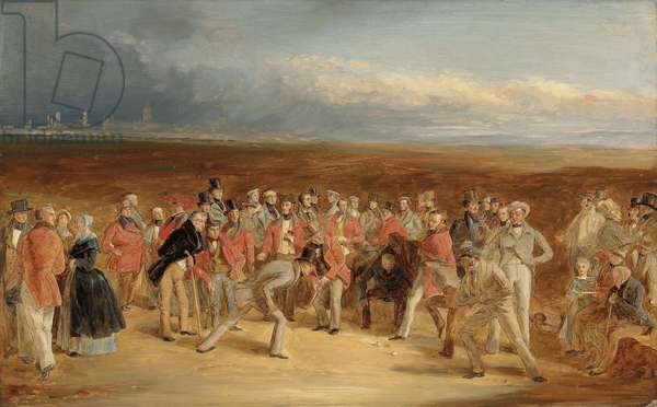 The finished sketch for The Golfers: A Grand Match played on the St. Andrews Links by Sir David Baird, Bt. and Sir Ralph Anstruther, Bt. of Balcaskie, against Major Playfair and John Campbell, Esq., of Glensaddell, in 1850 (oil on board)