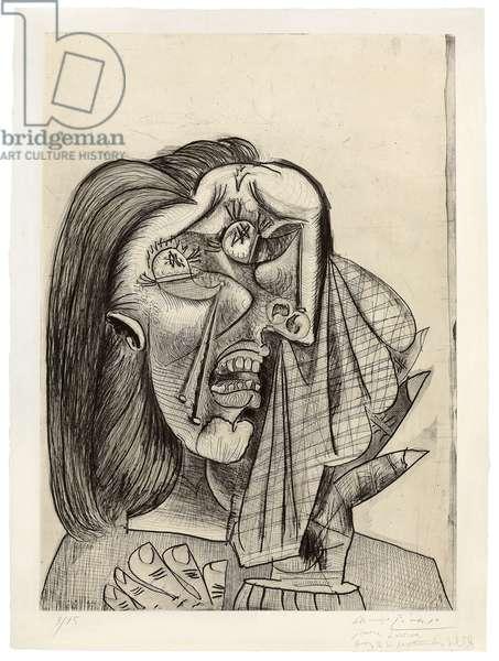 Weeping Woman, I; La femme qui pleure, I, 1937 (drypoint, aquatint, etching and scraper, on wove paper)