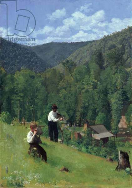 The Farmer and His Son at Harvesting, 1879 (oil on canvas)