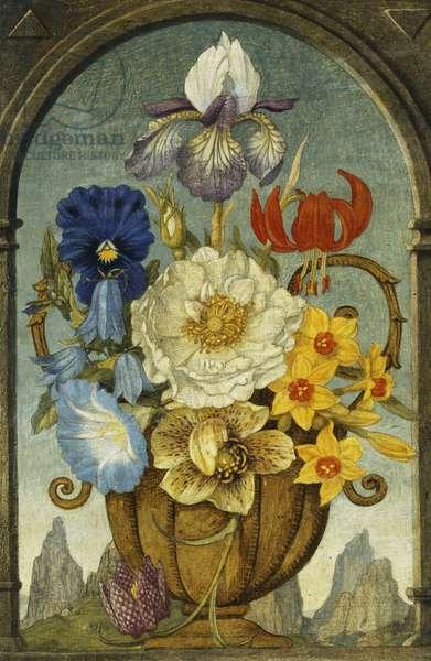 Vase of Flowers on a Window Ledge,  (tempera on board)