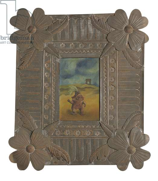 Survivor, 1938 (oil on metal in a handcrafted Oaxacan tin frame)