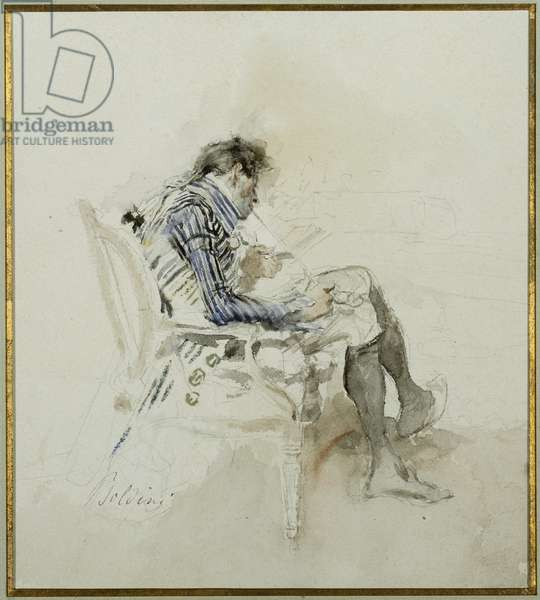 Gentleman seated in an Armchair reading a Book and smoking a Pipe (pencil & w/c on paper)