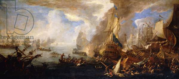A Sea Battle with Sardinian and Venetian Warships and Sardinian and Egyptian(?) Galleys in the Foreground,  (oil on canvas)