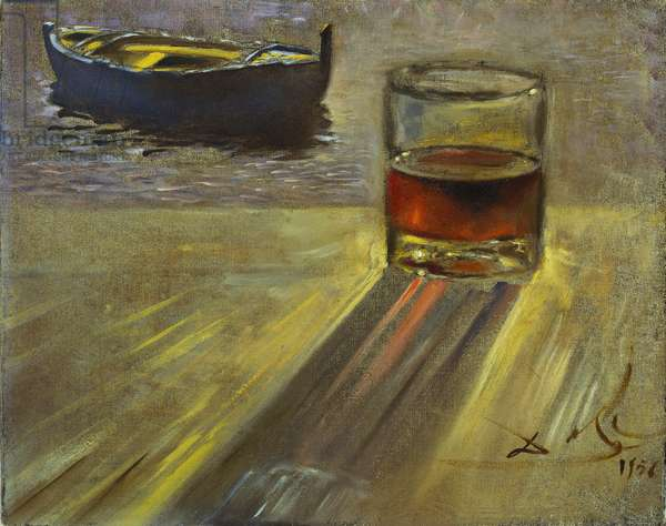 Glass of Wine and Boat, 1956 (oil on canvas)