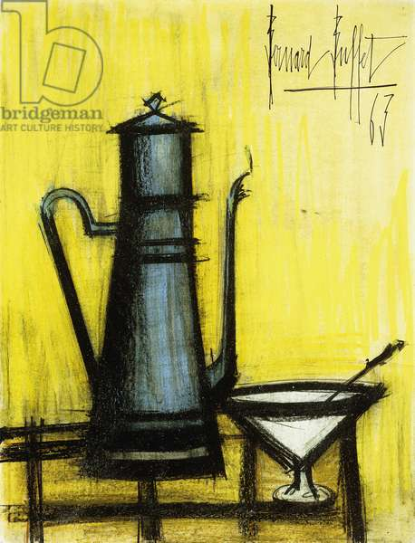 The Blue Coffeepot; La Cafetiere Bleue, 1963 (varnished watercolour, coloured wax crayons, brush and black ink)