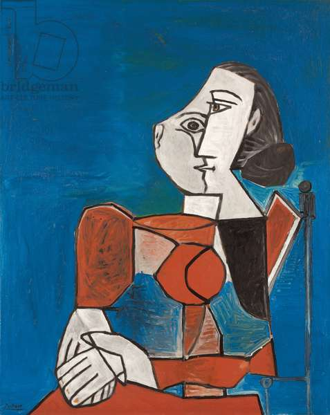 Seated Woman in Red Dress with Blue Background; Femme assise en costume rouge sur fond bleu, 1953 (oil on panel)