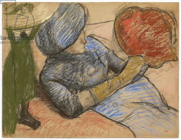 Woman holding a hat in her hand, c.1885 (pastel on paper)