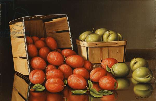 Baskets of Plums,  (oil on canvas)